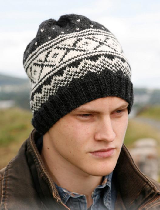 мужская шапка спицами с жаккардовым узором