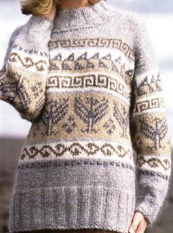 Схема вязания спицами свитера с норвежским узором