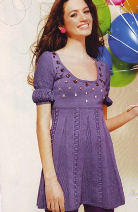 Платье спицами схемы и описание