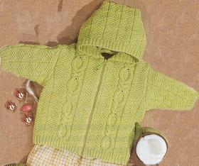 детская кофточка спицами на молнии с капюшоном