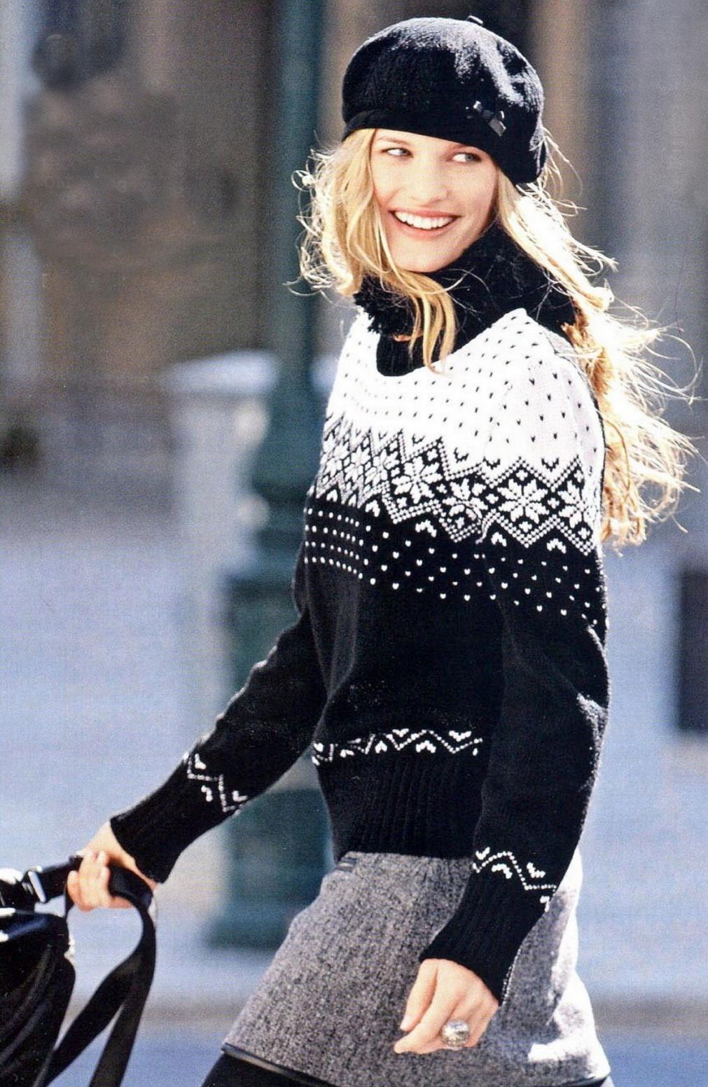 Вязание спицами свитера с жаккардовым узором