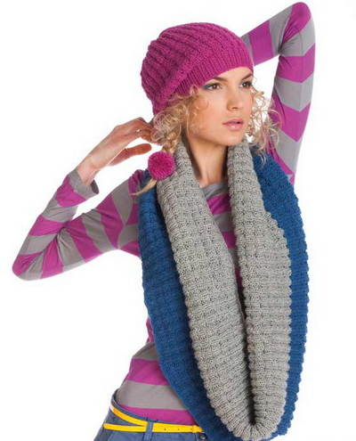 Простая шапка спицами «резинкой» и круговой шарф