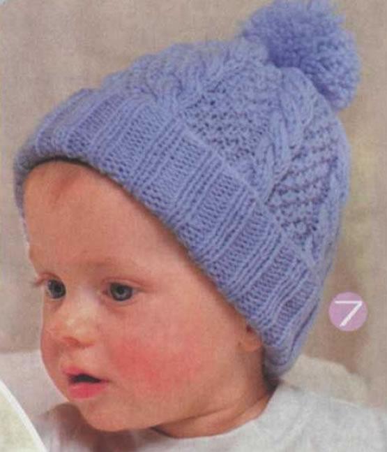 детская шапочка спицами узорами из кос с отворотом