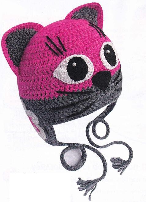 Детская шапочка крючком  «ГлаМурная кошечка» для девочки