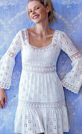 Ажурное платье – туника спицами в стиле кантри