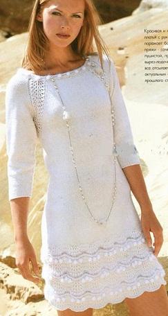 вязаное платье спицами с ажурными воланами Anabella