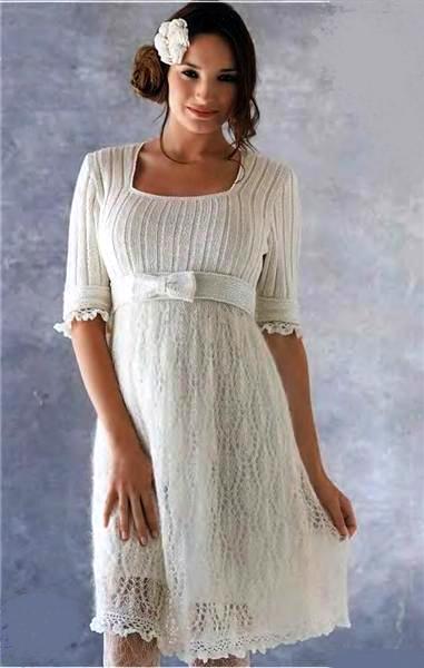 Нарядное платье спицами и крючком Diana