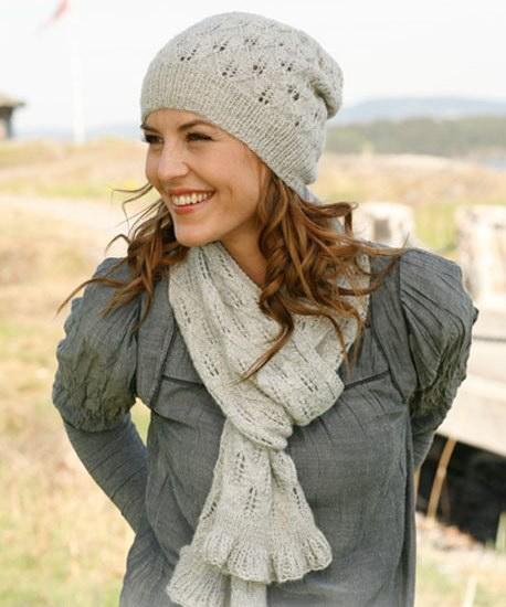 Вязание шапки спицами в комплекте с шарфом и перчатками