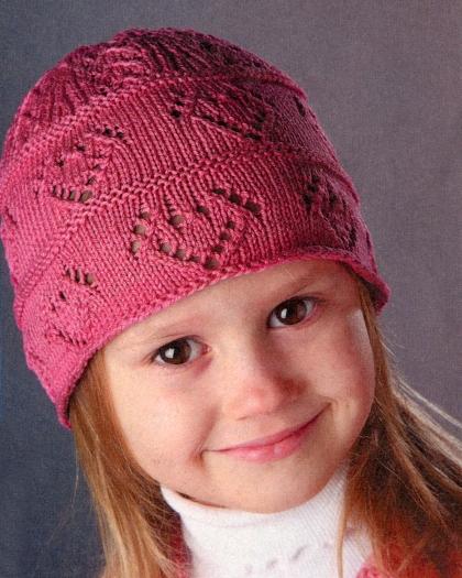 шапочка для девочки спицами простым узором