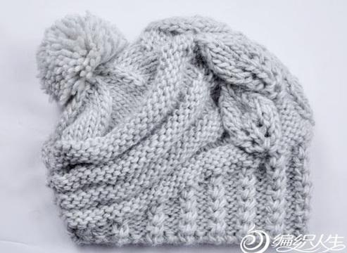 Вязание спицами шапки крупной вязкой (растительный узор)3