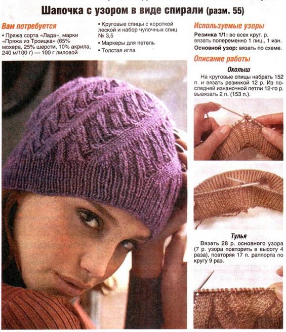 Вязание спицами шапки узором по спирали