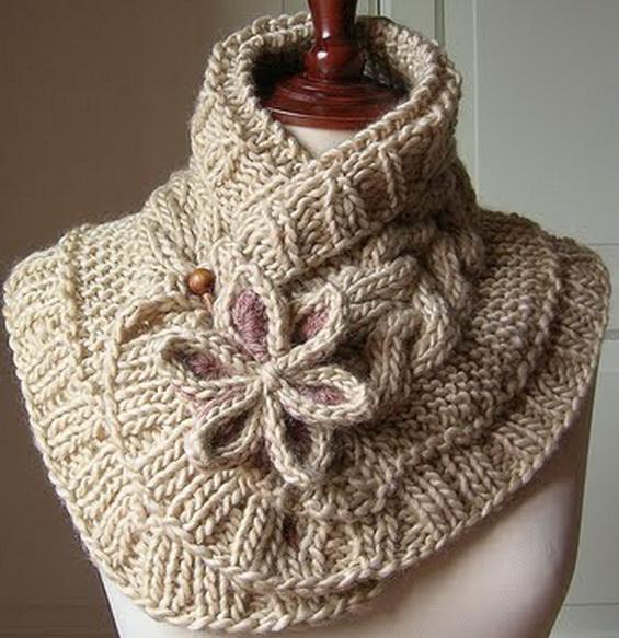 """Красивый и оригинальный шарф спицами """"Лунный цветок"""""""