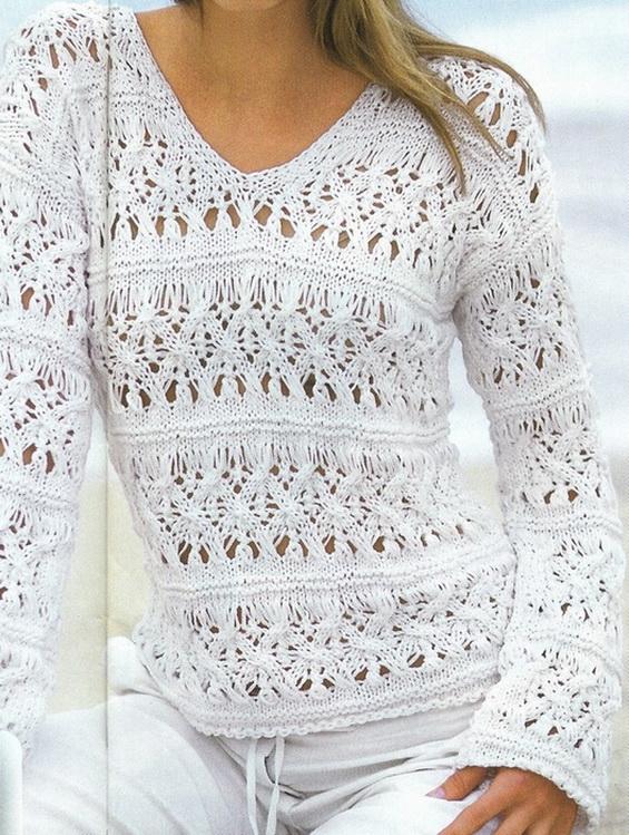 """Ажурный свитер спицами """"Морской прибой"""""""