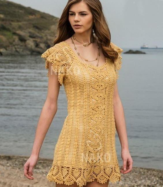 """Красивая пляжное платье крючком """"Нежность"""""""