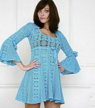 летнее платье крючком из квадратных мотивов василиса