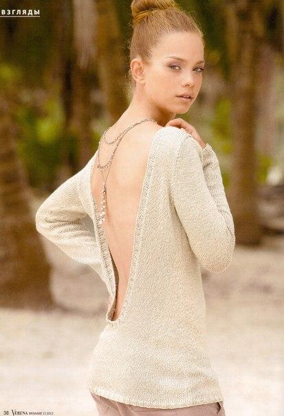 Летний свитер спицами с открытой спиной