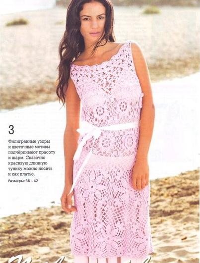 Длинная туника-платье крючком из мотивов