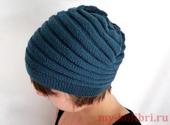 шапка спицами для начинающих