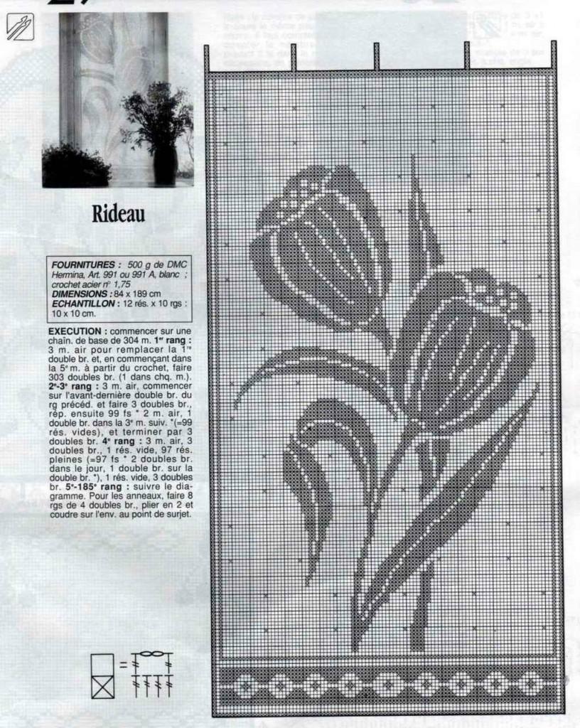 Занавеска крючком «Тюльпаны» схема