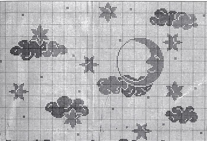Занавеска крючком в детскую «Луна и звезды»1