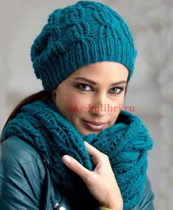 шапка спицами и шарф хомут