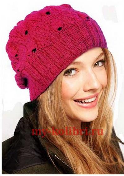 молодежная шапка спицами Cherry Braid