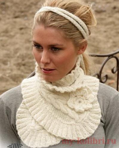 Красивый шарф спицами с цветком от Drops