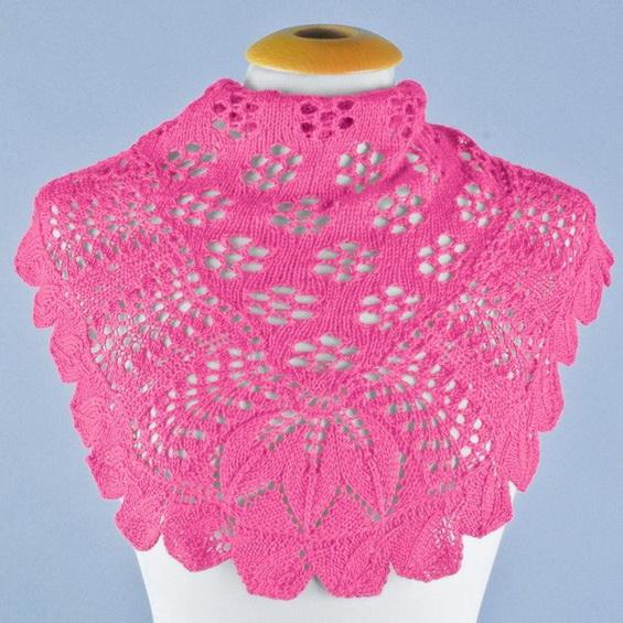 Ажурная шаль спицами «Весенние цветы»