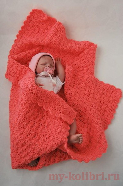 Плед крючком для малыша «Нежное тепло коралла»