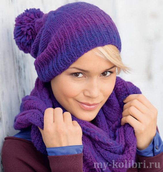 Шапка спицами и шарф хомут из меланжевой пряжи