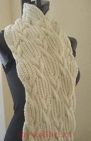 объемный шарф спицами узором из простых кос