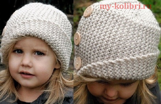 Демисезонная шапочка для девочки спицами