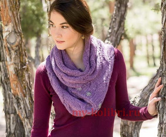 Широкий шарф спицами узором из кос