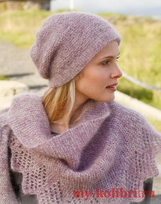 Шапка спицами и шаль из мохера платочной вязкой от Drops Design