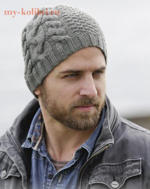 Мужская шапка спицами со жгутами