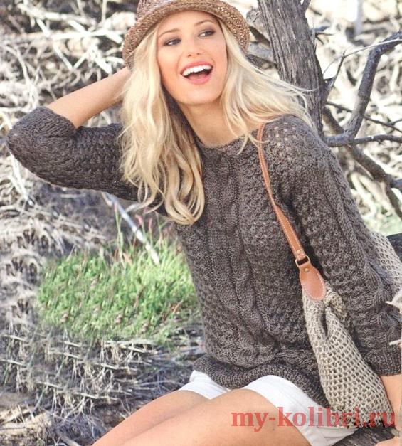 Стильный свитер спицами плетеным узором и красивыми косами