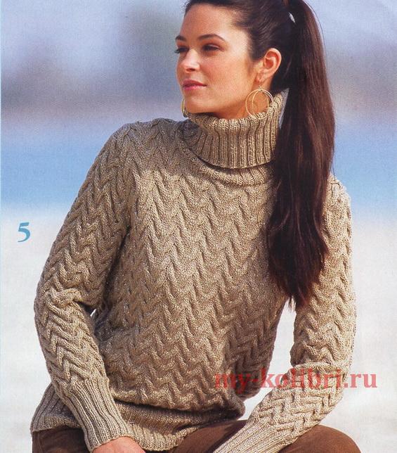свитер спицами узором из кос и воротником гольф