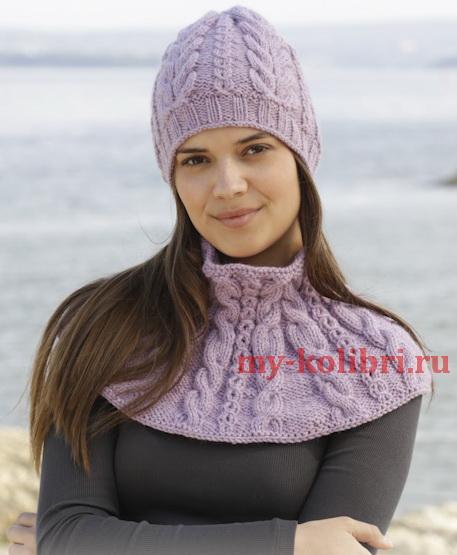 Шапка и снуд спицами «Milena» красивым узором из кос