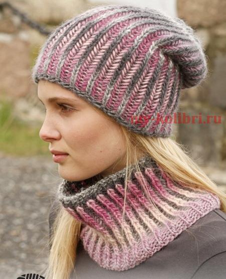Вязание шапки спицами двухцветной резинкой