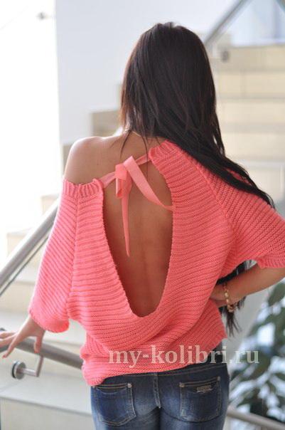 Модный свитер спицами с открытой спиной