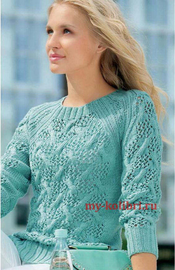 Пуловер спицами с рукавом реглан и узором из ажурных кос