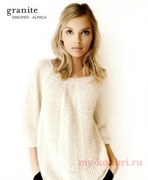 простой свитер спицами для женщин комбинированным узором