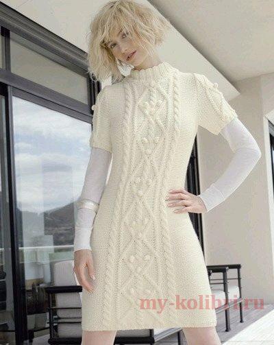 Теплое платье спицами с коротким рукавом