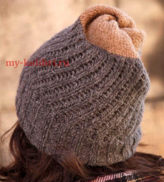 Двухсторонняя шапочка спицами простым узором