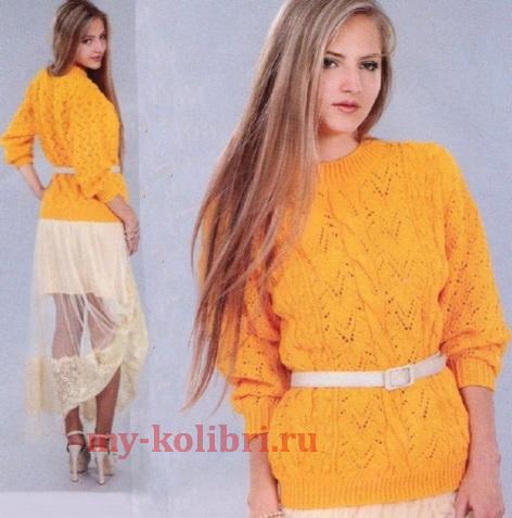 Модный ажурный свитер спицами комбинированным узором