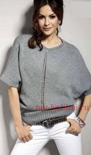 Пуловер спицами свободного силуэта