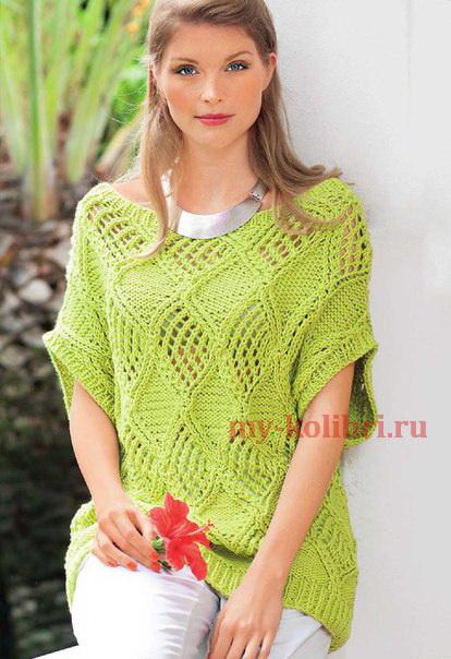 Пуловер спицами с коротким рукавом узором из ажурных ромбов