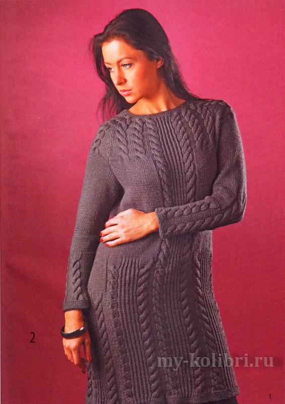 теплое платье спицами с рельефными косами