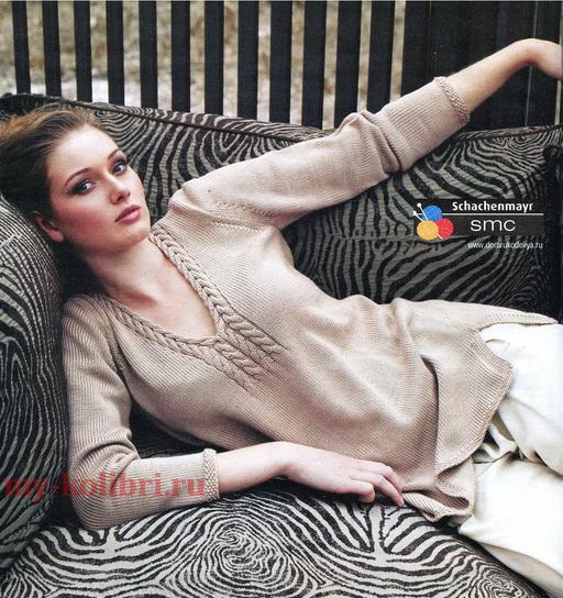 Как связать длинный женский пуловер спицами: схема
