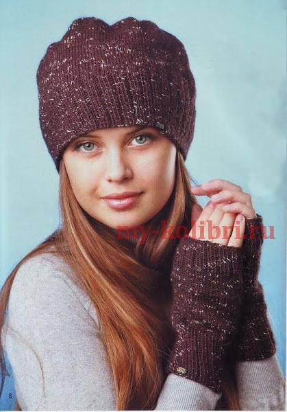 шапка и митенки спицами платочной вязкой